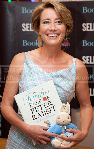 06/09/2012. LONDON, UK. Emma Thompson is seen wearing a couture gown featuring a bespoke 'Peter Rabbit' tartan designed by Maria Grachvogel at Selfridges Oxford Street store in London today (06/09/12).  The actress appeared at the shop to sign copies of her new book 'The Further Tale of Peter Rabbit'. Photo credit: Matt Cetti-Roberts