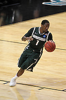 Michigan State Spartans guard Kalin Lucas #1 drives up court during the second round game of the NCAA Basketball Tournament at St. Pete Times Forum on March 17, 2011 in Tampa, Florida.  UCLA defeated Michigan State 78-76.  (Mike Janes/Four Seam Images)