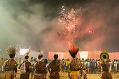 Indigenous participants watch a firewoprk display at the International Indigenous Games in Brazil. 24th October 2015