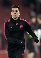 Mesut Ozil of Arsenal warms up during the UEFA Europa League round of 16 2nd leg match between Arsenal and AC Milan at the Emirates Stadium, London, England on 15 March 2018. Photo by Vince  Mignott / PRiME Media Images.