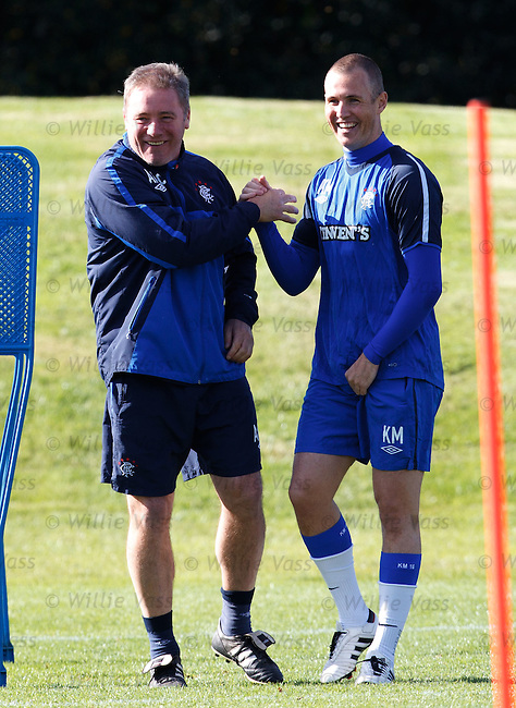 Ally McCoist and Kenny Miller share a handshake and a joke