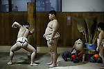 Tokyo, March 31 2013 - The young Kato Seiya coaching other kids at an amateur sumo club in the Asakusa area.