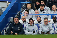 Chelsea Manager, Maurizio Sarri, anxiously looks on during Chelsea vs Huddersfield Town, Premier League Football at Stamford Bridge on 2nd February 2019