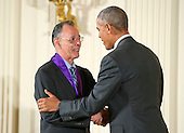United States President Barack Obama presents the 2015 National Medal of Arts to Santiago Jiménez, Jr., Musician of San Antonio, Texas, during a ceremony in the East Room of the White House in Washington, DC on Thursday, September 22, 2016.<br /> Credit: Ron Sachs / CNP