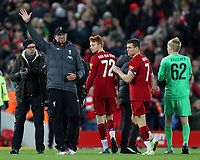 30th October 2019; Anfield, Liverpool, Merseyside, England; English Football League Cup, Carabao Cup, Liverpool versus Arsenal; Liverpool manager Jurgen Klopp waves to supporters on the Kop after his team's penalty shootout win - Strictly Editorial Use Only. No use with unauthorized audio, video, data, fixture lists, club/league logos or 'live' services. Online in-match use limited to 120 images, no video emulation. No use in betting, games or single club/league/player publications