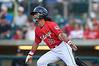 Billings Mustangs Quincy McAfee (19) starts running toward first base during a Pioneer League game against the Grand Junction Rockies at Dehler Park on August 15, 2019 in Billings, Montana. Billings defeated Grand Junction 11-2. (Zachary Lucy/Four Seam Images)