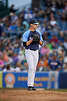 Trenton Thunder relief pitcher Matt Frawley (10) gets ready to deliver a pitch during a game against the New Hampshire Fisher Cats on August 19, 2018 at ARM & HAMMER Park in Trenton, New Jersey.  New Hampshire defeated Trenton 12-1.  (Mike Janes/Four Seam Images)