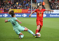 20180406 - LEUVEN , BELGIUM : Belgian Laura Deloose (R) and Portugese Andreia Norton (L)   pictured during the female soccer game between the Belgian Red Flames and Portugal , the fourth game in the qualificaton for the World Championship qualification round in group 6 for France 2019, Friday 6 th April 2018 at OHL Stadion Den Dreef in Leuven , Belgium. PHOTO SPORTPIX.BE | DIRK VUYLSTEKE
