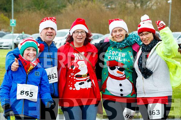 Luke Mullins, Kieran Nolan, Anna Sheehy, Helen Finn and Nina Mansfield, who took part in the Santa Run at Tralee Bay Wetlands on Sunday morning last.