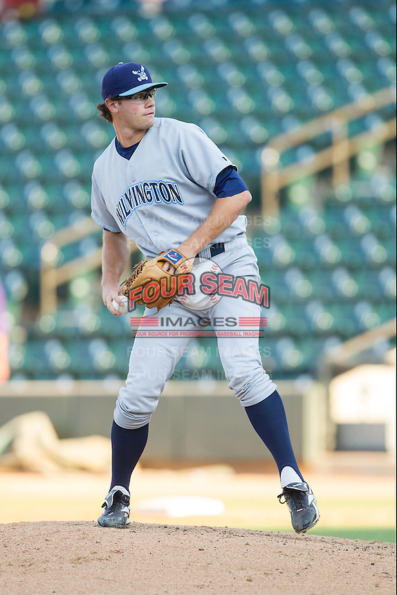 Wilmington Blue Rocks relief pitcher Johnny Walter (38) in action against the Winston-Salem Dash at BB&T Ballpark on July 6, 2014 in Winston-Salem, North Carolina.  The Dash defeated the Blue Rocks 7-1.   (Brian Westerholt/Four Seam Images)