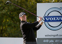 17.10.2014. The London Golf Club, Ash, England. The Volvo World Match Play Golf Championship.  Day 3 group stage matches.  Jamie Donaldson (WAL) tee shot 3rd hole.