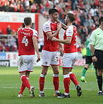 Rotherham United VS Scunthorpe United, New York Stadium Rotherham, Saturday 14th October 2017 <br /> <br /> Rotherhams Kieffer Moore celebrates scoring the 2nd of the afternoon for Rotherham. <br /> <br /> Picture - Alex Roebuck / www.alexroebuck.co.uk