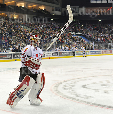 December 04-16,Mercedes-Benz-Arena,Berlin,Germany<br /> DEL Ice-Hockey ,German ice-hockey<br /> Eisbaeren Berlin vs FISCHTOWN PINGUINS<br /> Bremerhaven`s goalie Jerry Kuhn made some super saves,anyway they lost 4:2 vs Berlin.