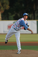 Myrtle Beach Pelicans pitcher Luke Jackson #18 on the mound during a game against the Carolina Mudcats at Ticketreturn.com Field at Pelicans Park on June 30, 2012 in Myrtle Beach, South Carolina. For this game the Pelicans wore special cancer awareness ribbon jerseys that were later auctioned off with the proceeds going to cancer charites. Myrtle Beach defeated Carolina by the score of 5-4 in 11 innings. (Robert Gurganus/Four Seam Images)