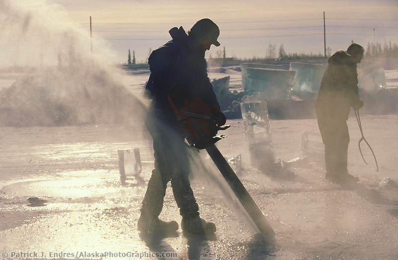Chainsaw used to cut through thick ice in a pond to make blocks of ice for the World Ice Art Championships held each march in Fairbanks, Alaska
