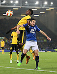 Leighton Baines of Everton challenged by Divock Origi of Lille - UEFA Europa League - Everton vs  Lille - Goodison Park Stadium - Liverpool - England - 6th November 2014 - Pic Simon Bellis/Sportimage
