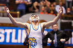 CLEVELAND, OH - MARCH 10: Jay Albis, of Johnson & Wales, celebrates his win in the 125 weight class during the Division III Men's Wrestling Championship held at the Cleveland Public Auditorium on March 10, 2018 in Cleveland, Ohio. (Photo by Jay LaPrete/NCAA Photos via Getty Images)