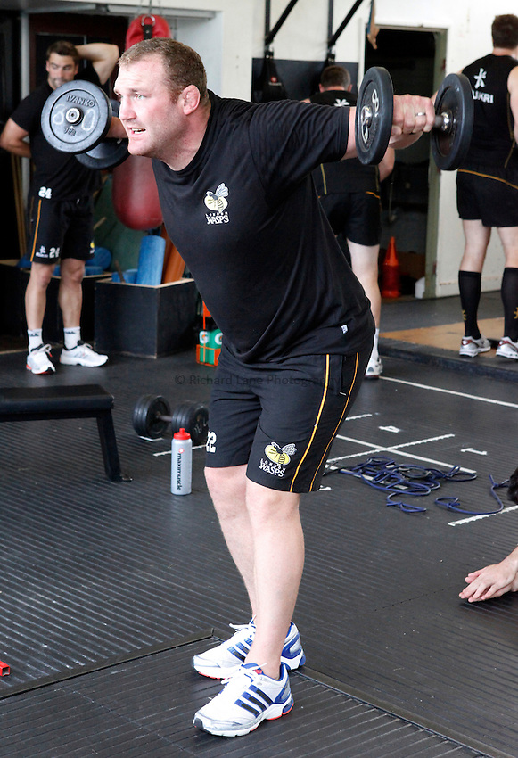 Photo: Richard Lane/Richard Lane Photography. London Wasps training. 12/07/2012. Wasps' Tim Payne.