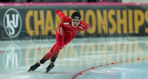 March 4th 2017, Hamar, Norway; IBU World Allround Speed skating championships;  Simen Spieler Nilsen of Norway competes in the men 5000m at the Viking Ship Olympic Arena in Hamar, Norway