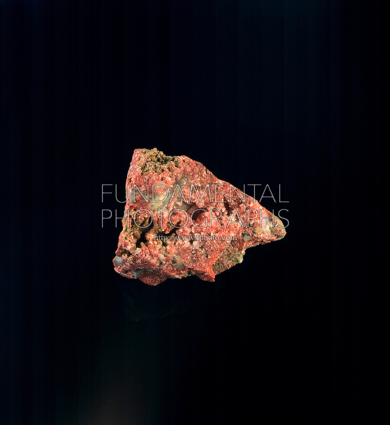 CINNABAR: ORE OF MERCURY<br />  RARE CRYSTAL FORM<br /> HgS Mercury Sulfide (a simple sulfide)<br /> Chief ore of mercury<br /> Specimen is fine granular massive.