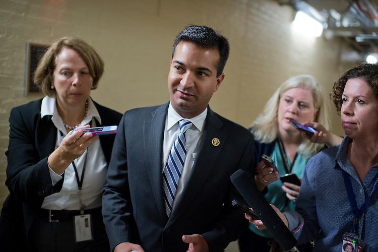 UNITED STATES - OCTOBER 21: Rep. Carlos Curbelo, R-Fla., talks with reporters after a meeting of the House Republican Conference in the Capitol, October 21 2015. Many questions were about the likelihood of Rep. Paul Ryan, R-Wisc., being elected Speaker of the House. (Photo By Tom Williams/CQ Roll Call)
