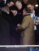FUSSBALL  CHAMPIONS LEAGUE  ACHTELFINALE  HINSPIEL  2012/2013      FC Arsenal London - FC Bayern Muenchen       19.02.2013 Bundestrainer Joachim Loew (li) und Karl-Heinz Rummenigge zu Gast auf der Tribuene