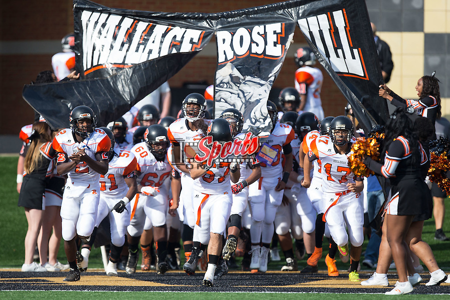 The Wallace-Rose Hill Bulldogs take the field prior to the game against the Mitchell Mountaineers in the NCHSAA 1AA State Championship at BB&T Field on December 12, 2015 in Winston-Salem, North Carolina.  The Bulldogs defeated the Mountaineers 48-28.  (Brian Westerholt/Sports On Film)