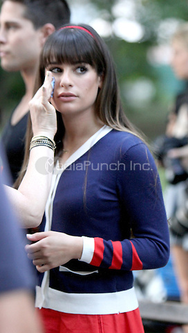 August 12, 2012 Lea Michele shooting on location for  Glee at City Hall Park  in New York City.Credit:© RW/MediaPunch Inc.