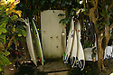Surfboards at the Volcom House on the North Shore in Hawaii