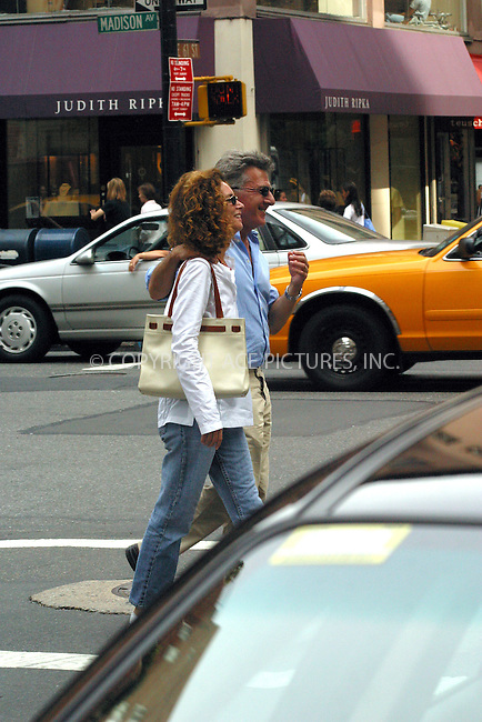 Actor Dustin Hoffman and his wife Lisa Gottsegen spotted taking a stroll on Madison Avenue. New York, August 27, 2002. Please byline: Alecsey Boldeskul/NY Photo Press.   ..*PAY-PER-USE*      ....NY Photo Press:  ..phone (646) 267-6913;   ..e-mail: info@nyphotopress.com
