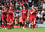 Liverpool's Andy Robertson applauds the kop after his debut during the premier league match at the Anfield Stadium, Liverpool. Picture date 19th August 2017. Picture credit should read: David Klein/Sportimage
