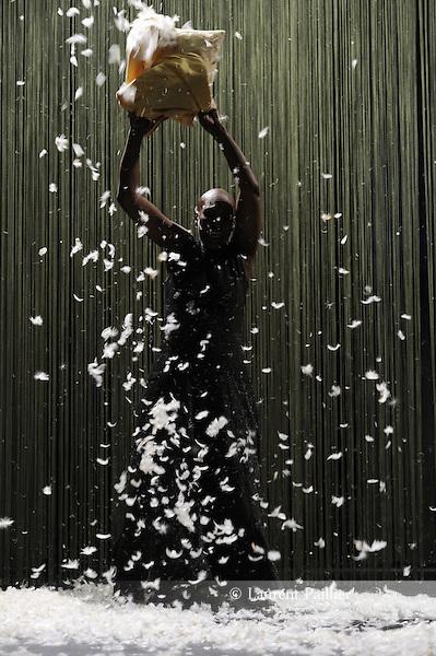 À UN ENDROIT DU DEBUT<br /> <br /> chorégraphie et interprétation : Germaine Acogny<br /> conception et mise en scène : Mikaël Serre<br /> assistant chorégraphie : Patrick Acogny<br /> scénographie : Maciej Fiszer<br /> costumes : Johanna Diakhate-Rittmeyer<br /> vidéo : Sébastien Dupouey<br /> musique composée & interprétée par : Fabrice Bouillon « LaForest »<br /> lumières : Sébastien Michaud<br /> Compagnie Jant-Bi<br /> Cadre : <br /> Date : 15/03/2016<br /> Lieu : Théâtre des Abbesses<br /> Ville : Paris<br /> © Laurent Paillier / photosdedanse.com