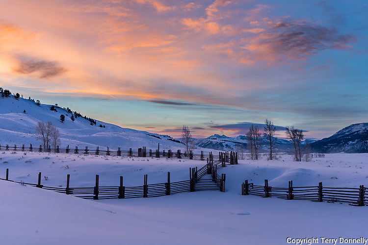 Yellowstone National Parl. Woming:<br /> Winter sunrise above the coral fences of the Buffalo Ranch, Lamar Valley