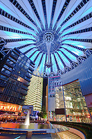 The Sony Centre located at Potsdamer Platz which was flattened during the Second World War (WWII) and then became a no-man's land dissected by the Berlin Wall during the Cold War. .