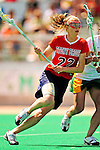 25 April 2009: Stony Brook University Seawolves' midfielder Kaitlin Leggio, a Senior from Bay Shore, NY, in action against the University of Vermont Catamounts at Moulton Winder Field in Burlington, Vermont. The Lady Cats defeated the visiting Seawolves 19-11 in Vermont's last home game of the 2009 season. Mandatory Photo Credit: Ed Wolfstein Photo
