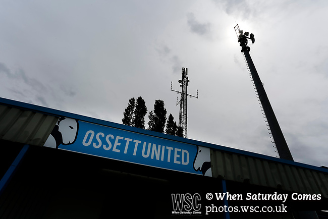 An Onset United sign at Ingfield. Yorkshire v Parishes of Jersey, CONIFA Heritage Cup, Ingfield Stadium, Ossett. Yorkshire's first competitive game. The Yorkshire International Football Association was formed in 2017 and accepted by CONIFA in 2018. Their first competative fixture saw them host Parishes of Jersey in the Heritage Cup at Ingfield stadium in Ossett. Yorkshire won 1-0 with a 93 minute goal in front of 521 people. Photo by Paul Thompson