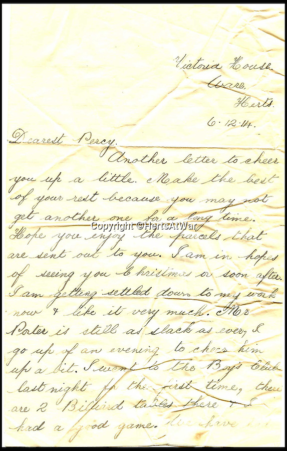 BNPS.co.uk (01202 558833)<br /> Pic: HertsAtWar/BNPS<br /> <br /> ***Please Use Full Byline***<br /> <br /> A letter Private Percy Huggins sent to ghis younger brother. <br /> <br /> A poignant footnote to the much heralded Xmas truce of 1914 has been revealed by a British historian who has uncovered a tragic tale that played out just yards from the famous event.<br /> <br /> Ruthless German snipers shot and killed two British soldiers in a tragic tit for tat while the famous Christmas Day truce of 1914 broke out around them, it can be revealed 100 years on.<br /> <br /> The historic ceasefire which saw men from both sides emerge from their trenches to exchange seasonal greetings and play games of football is one of the most enduring images of the First World War.<br /> <br /> But while the remarkable gesture of good will spread to many parts along the Western Front, the friendly festivities stopped half-a-mile short of the Rue De Bois near the French village of Festubert.<br /> <br /> There, the peace of Christmas morning was shattered by the piercing, solitary shot of a sniper's rifle fired from a German trench.