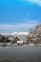 Snow Covered Barn and Farm Buildings in Pemberton Valley near Whistler, BC, British Columbia, Canada - Southwestern BC Region, Winter