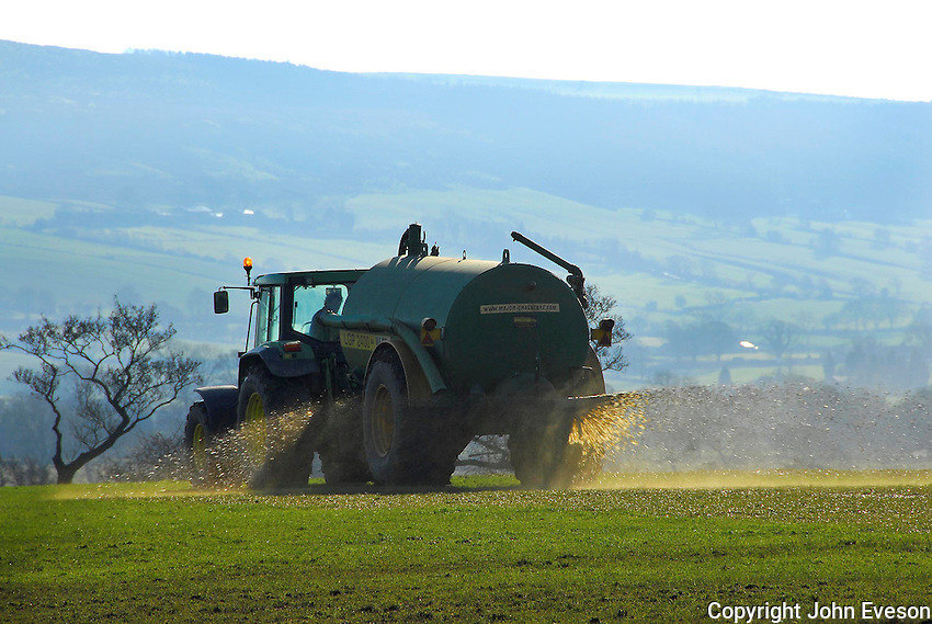 Spreading slurry, Chipping, Lancashire.