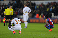 (L-R) Modou Barrow of Swansea and Pape Souare of Crystal Palace make their frustration evident after the Barclays Premier League match between Swansea City and Crystal Palace at the Liberty Stadium, Swansea on February 06 2016