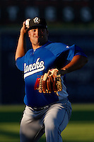 Raydel Sanchez #41 of the Rancho Cucamonga Quakes warms up in the bullpen before pitching against the Lancaster JetHawks at The Hanger on August 25, 2013 in Lancaster, California. Lancaster defeated Rancho Cucamonga, 7-1. (Larry Goren/Four Seam Images)