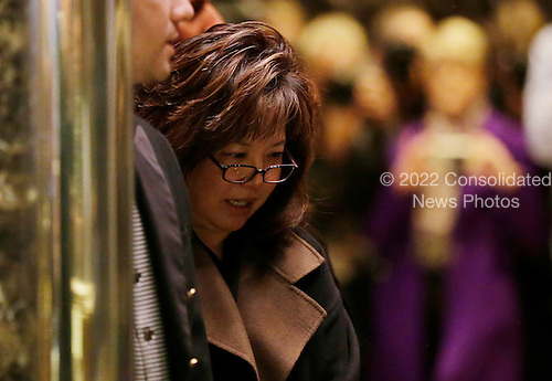 Former United States Attorney for the Central District of California Deborah Wong Yang stands in an elevator when he arrives at Trump Tower on December 5, 2016 in New York City. U.S. President-elect Donald Trump is still holding meetings upstairs at Trump Tower as he continues to fill in key positions in his new administration.   <br /> Credit:John Angelillo / Pool via CNP