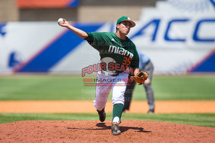 Miami Hurricanes relief pitcher Andrew Cabezas (35) delivers a pitch to the plate against the Wake Forest Demon Deacons in Game Nine of the 2017 ACC Baseball Championship at Louisville Slugger Field on May 26, 2017 in Louisville, Kentucky.  The Hurricanes defeated the Demon Deacons 5-2 to advance to the semi-finals.  (Brian Westerholt/Four Seam Images)