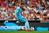 1st October 2017, Mestalla, Valencia, Spain; La Liga football, Valencia CF versus Athletic Bilbao; Neto goalkeeper of Valencia CF launches the ball upfield