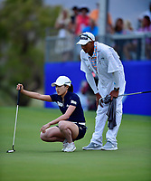 Jennifer Song of the United States lines up her putt on the second playoff hole, during the final round of the ANA Inspiration at the Mission Hills Country Club in Palm Desert, California, USA. 4/1/18.<br /> <br /> Picture: Golffile | Bruce Sherwood<br /> <br /> <br /> All photo usage must carry mandatory copyright credit (&copy; Golffile | Bruce Sherwood)