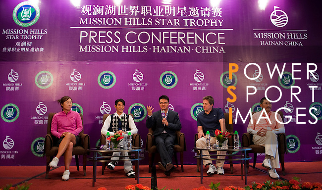 HAIKOU, CHINA - OCTOBER 28:  (L-R) LPGA Tour player Candie Kung of Taiwan, Hong Kong singer Aaron Kwok, Dr. Ken Chu, Vice Chairman of Mission Hills Group, Hollywood actor Hugh Grant of Great Britain and Chinese film director He Ping attend a press conference during the Mission Hills Star Trophy on October 28, 2010 in Haikou, China. The Mission Hills Star Trophy is Asia's leading leisure liflestyle event and features Hollywood celebrities and international golf stars. Photo by Victor Fraile / The Power of Sport Images