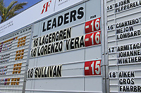 Scoreboard during the final round of the Rocco Forte Sicilian Open played at Verdura Resort, Agrigento, Sicily, Italy 13/05/2018.<br /> Picture: Golffile | Phil Inglis<br /> <br /> <br /> All photo usage must carry mandatory copyright credit (&copy; Golffile | Phil Inglis)
