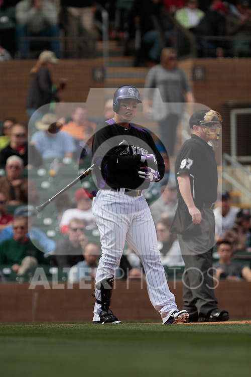 Carlos Gonzalez de rokies  ,during   Colorado Rockies vs Arizona Diamondbacks, game of  Cactus league and Spring Trainig 2013..Salt River Fields stadium in Arizona. February 24, 2013