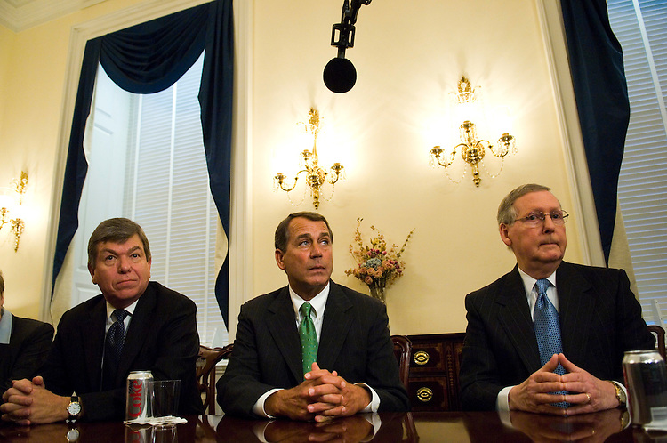 WASHINGTON, DC - Jan. 22: House Minority Whip Roy Blunt, R-Mo., House Minority Leader John A. Boehner, R-Ohio, and Senate Minority Leader Mitch McConnell, R-Ky., during a photo op before their meeting on the economy. GOP House and Senate leaders attended the meeting. Lawmakers pressed ahead Tuesday with plans to kickstart the ailing U.S. economy, as the Federal Reserve Board stepped in with a big interest rate cut aimed at spurring growth and stabilizing a battered stock market. House Speaker Nancy Pelosi, D-Calif., Senate Majority Leader Harry Reid, D-Nev., and other leaders from both parties met with President Bush at the White House for about an hour to discuss an economic stimulus package. They agreed only on the basics: They will seek to move a $150 billion package by mid-February. It is clear that Pelosi and House Minority Leader John A. Boehner, R-Ohio, will work with Treasury Secretary Henry M. Paulson Jr. to develop a legislative proposal that can first pass the House and then be sent to the Senate. After the White House meeting, lawmakers would not discuss details of legislation, such as whether tax rebates would be provided only to those who pay income tax, or whether those who pay payroll tax would receive them as well. (Photo by Scott J. Ferrell/Congressional Quarterly)