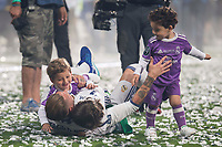 Real Madrid Sergio Ramos playing with his kids during the celebration of the 12th UEFA Championship won by Real Madrid  at Santiago Bernabeu Stadium in Madrid, June 04, 2017. Spain.<br /> Foto ALTERPHOTOS/BorjaB.Hojas/Insidefoto